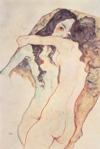 Egon Schiele - Zwei sich umarmende Frauen, 1911